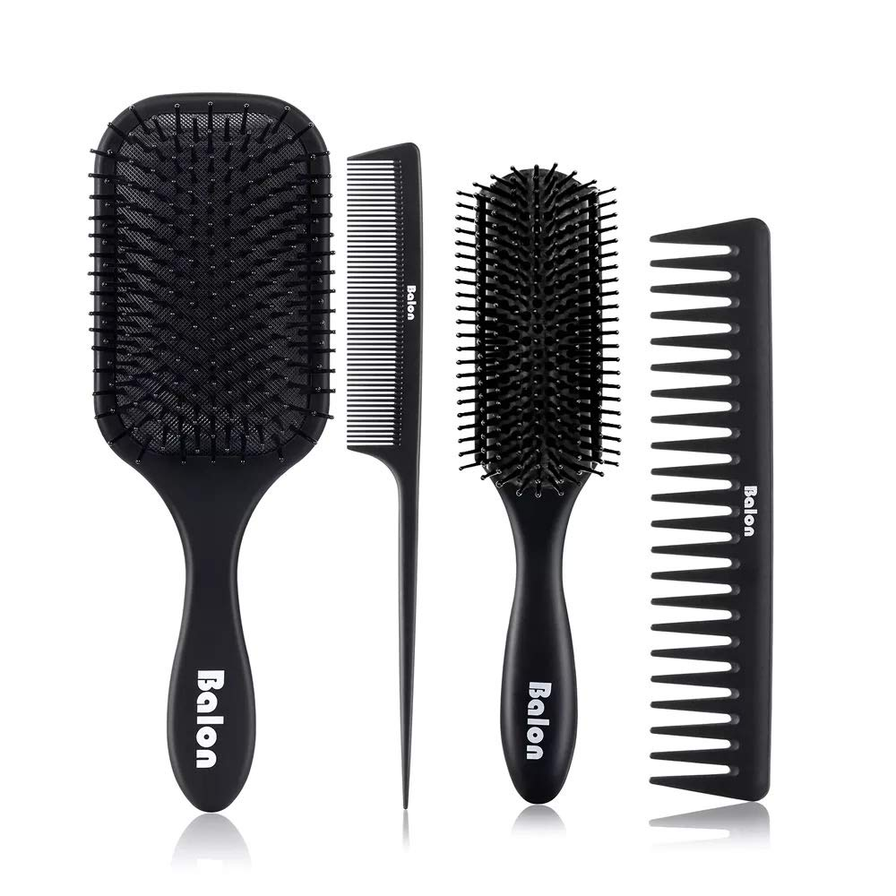 4Pcs Paddle Hair Brush, Detangling Brush and Hair Comb Set for Men and Women, Great On Wet or Dry Hair, No More Tangle Hairbrush for Long Thick Thin Curly Natural Hair (Black) by Balon