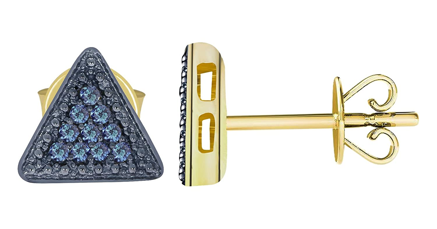 14k Yellow Gold Prism Jewel Round Blue Diamond Triangle Shaped Push Back Stud Earrings
