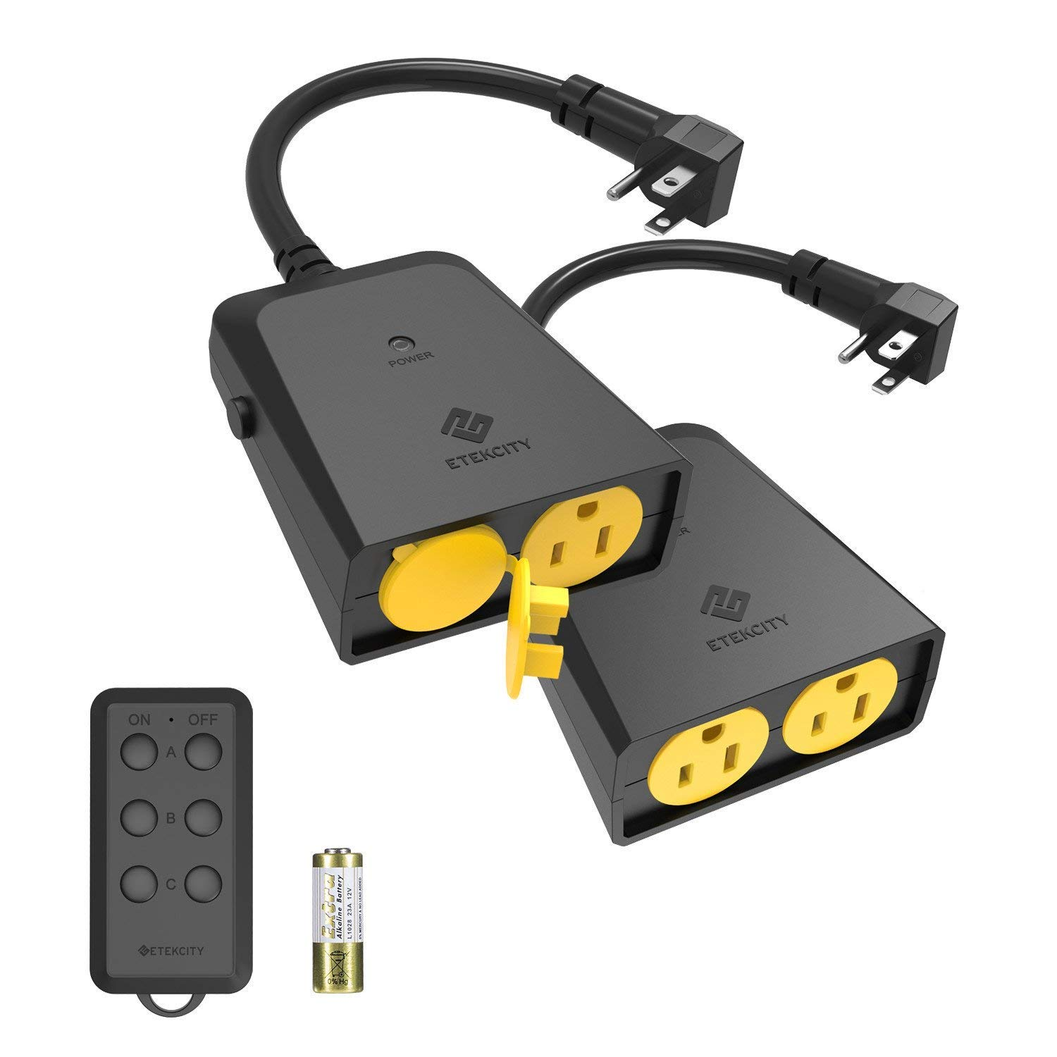 Etekcity ZAP 1FX Wireless Outdoor Remote Control Outlet, Weatherproof, 150ft Range Electrical Light Switch, Dual Outlet, Pair Freely, FCC ETL Certified, Black (2 Pack)