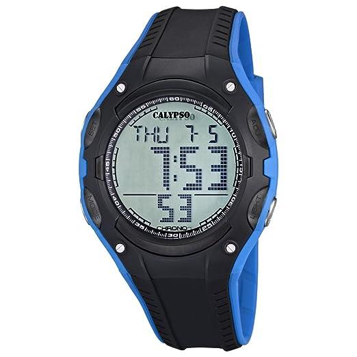 Calypso hombre-reloj cronógrafo Fashion PU-pulsera negro azul esfera cuarzo- reloj UK5614/3: CALYPSO: Amazon.es: Relojes