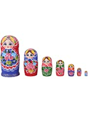 BAOBLADE 7 Pieces Handmade Colorful Wooden Nesting Dolls Set Classical Russian Matryoshka Babushka Toys Kids Children Christmas Gift Home Office Decor