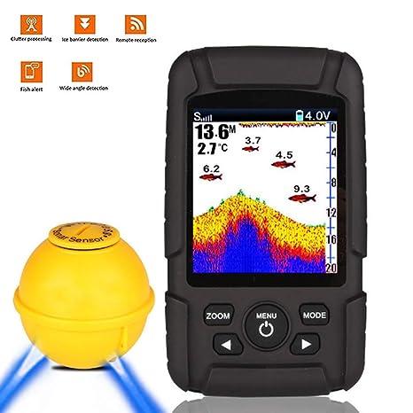 SISHUINIANHUA Detector De Peces Inalámbrico Buscador Portátil De Peces Pantalla De Color Impermeable Pantalla Inteligente Sonar