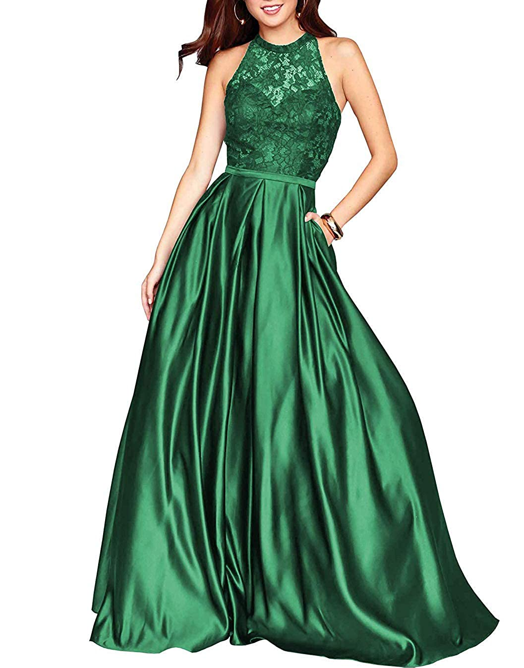 Dark Green PearlBridal Women's Halter Lace Prom Dresses Backless A Line Long Evening Formal Dress with Pockets