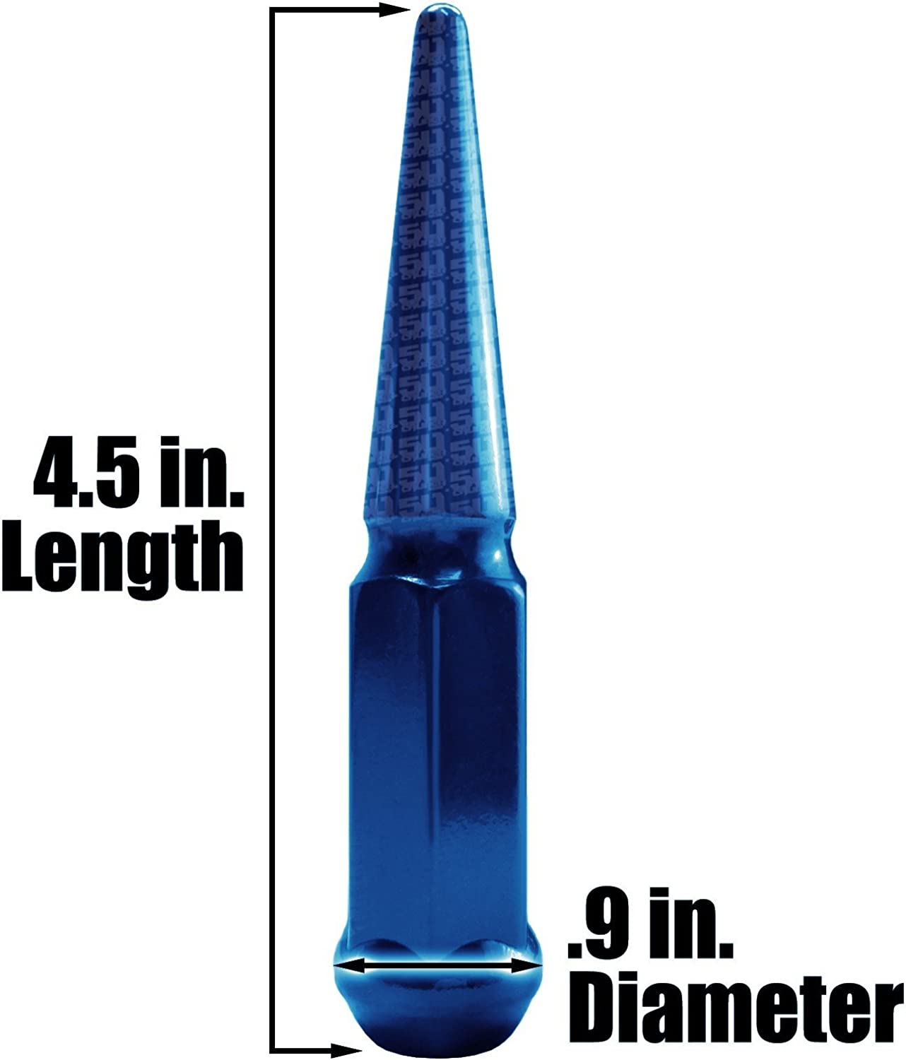 50 Caliber Racing Set of 24 Blue Spiked Lug Nuts and More! Chrysler 5296B17 Dodge Chevy Honda Fits Buick Hummer 12 x 1.5mm RH Thread Pitch Chevrolet GMC Ford Cadillac