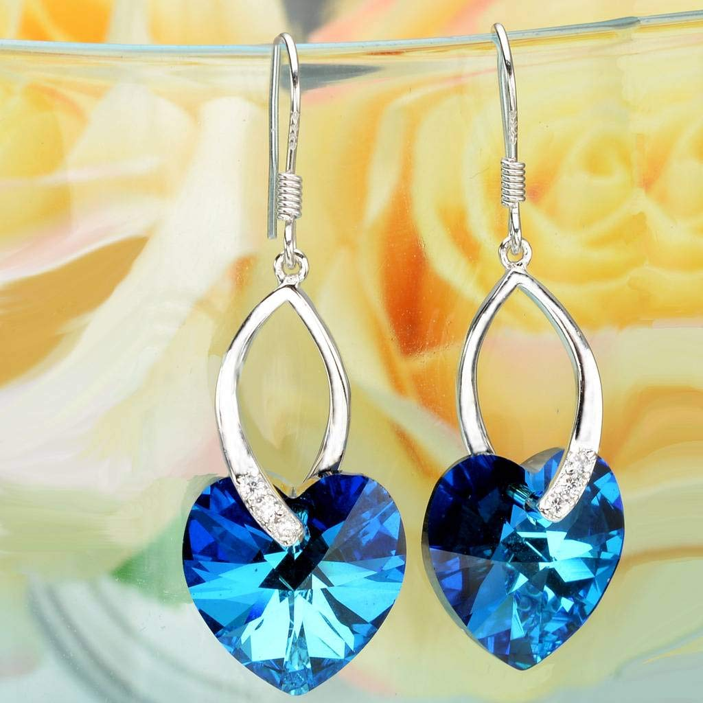 EleQueen 925 Sterling Silver CZ Love Heart French Hook Dangle Earrings Bermuda Blue Made with Swarovski Crystals by EleQueen (Image #3)