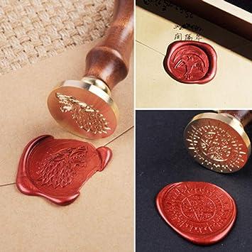 Onerbuy Retro Wachs Siegel Briefmarken Kit Vintage Handwerk Stempel Sealing Maker Stick Geschenk Box Set Red /& Gold