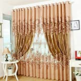 Modern Floral Peony Voile Curtain Living Room Drapery Valances Window Tulle Curtain(Brown)