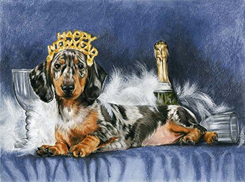 Happy New Year with Party Hat by Barbara Keith Art Print, 14 x 10 -