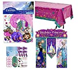 Disney Frozen Birthday Game Favor Set with Frozen's Banner and Table Cover