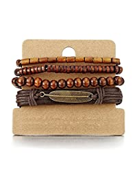 4 Brown Wrap Bracelets for Men Women, Multi-strand Wood Beads Leather Wristbands with Feather Charm