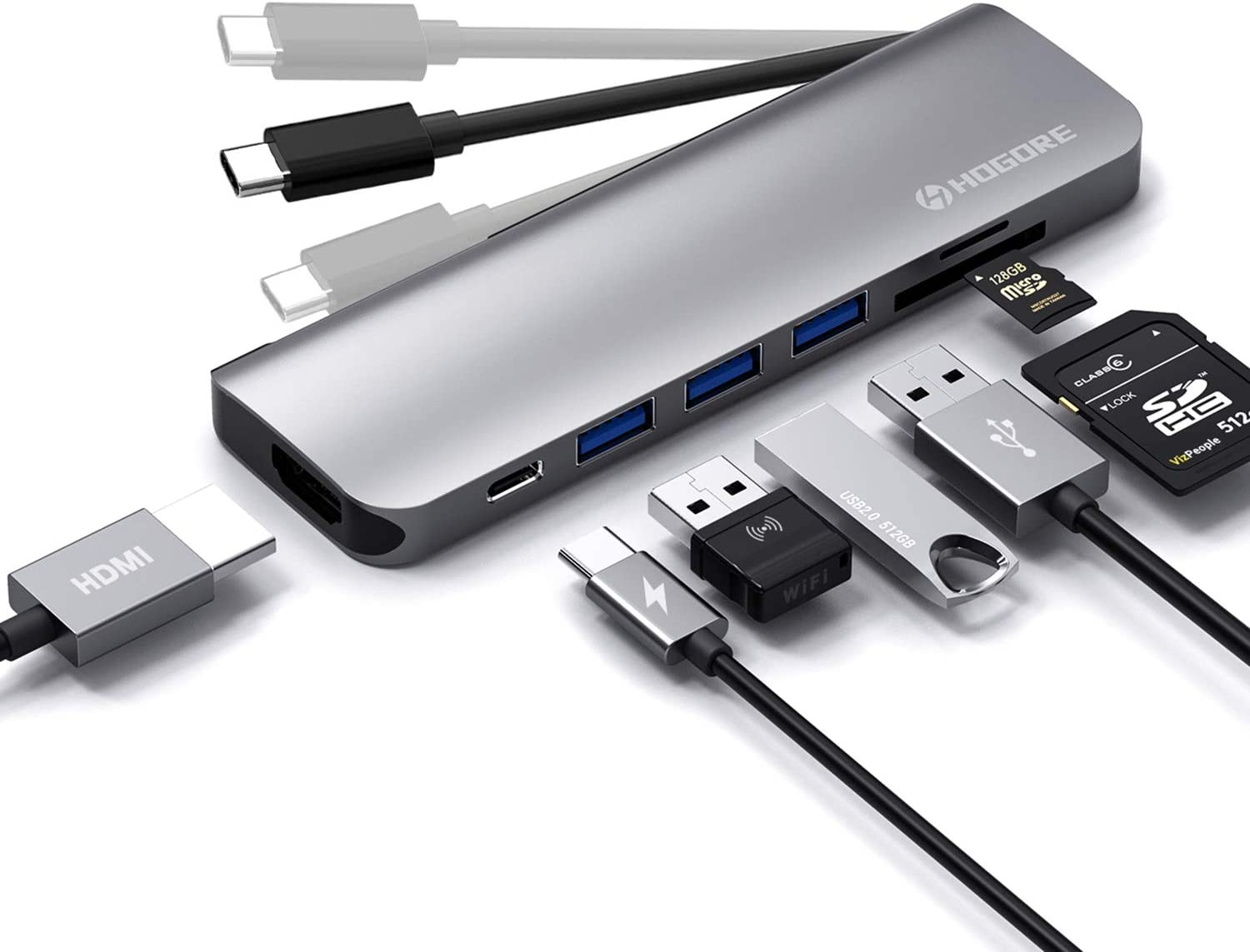 USB C Hub Adapter, HOGORE 7-in-1 Travel Type C Hub with 4K USB C to HDMI, PD Charging, USB3.0, SD/TF Reader, Compatible with MacBook Pro/Air,HP Spectre,Dell XPS,Galaxy S20/S10,Surface Pro X