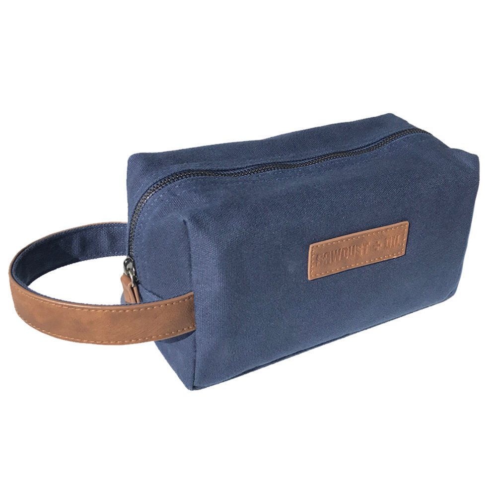 Canvas Travel Toiletry Organizer Shaving Dopp Kit by Sawdust + Oil 9-inch Cosmetic Makeup Bag Shaving Kit Dopp Bag for Men or Women Travel Kit Weekender Tote Groomsmen Gift Fathers Day (Navy Blue)