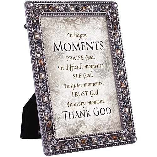 Cottage Garden in Moments Praise Thank God Jeweled Pewter Colored 5 x 7 Easel Back Photo Frame