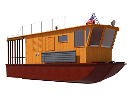 Houseboat Plans 21' DIY Pontoon House Boat Building Plan