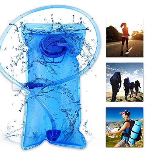 Ichefer Hydration Pack Bladder Heavy Duty 2L Water Reservoir, BPA & Taste Free TPU – Lightweight & Leak Proof Anti-bacteria– Ideal For Bicycling,Backpacking, Hiking, Outdoor Sports (Blue)