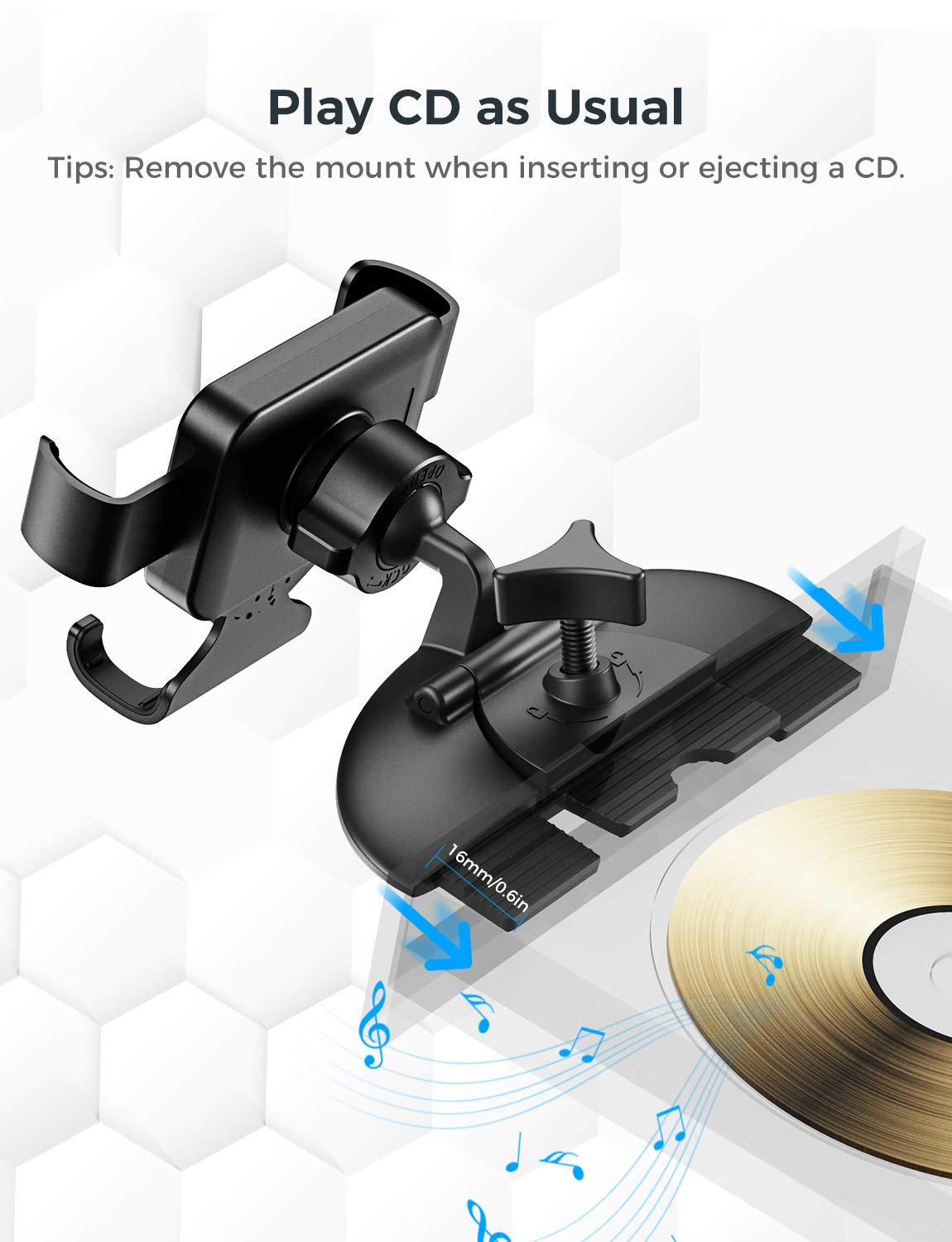 Gravity Car Mount Auto Lock and Auto Release CD Slot Phone Holder Mpow Car Phone Mount One-Handed Operation Car Phone Holder Compatible with iPhone 11 11 Pro Xs Max XR Galaxy S10 S10+ S10e S9 More
