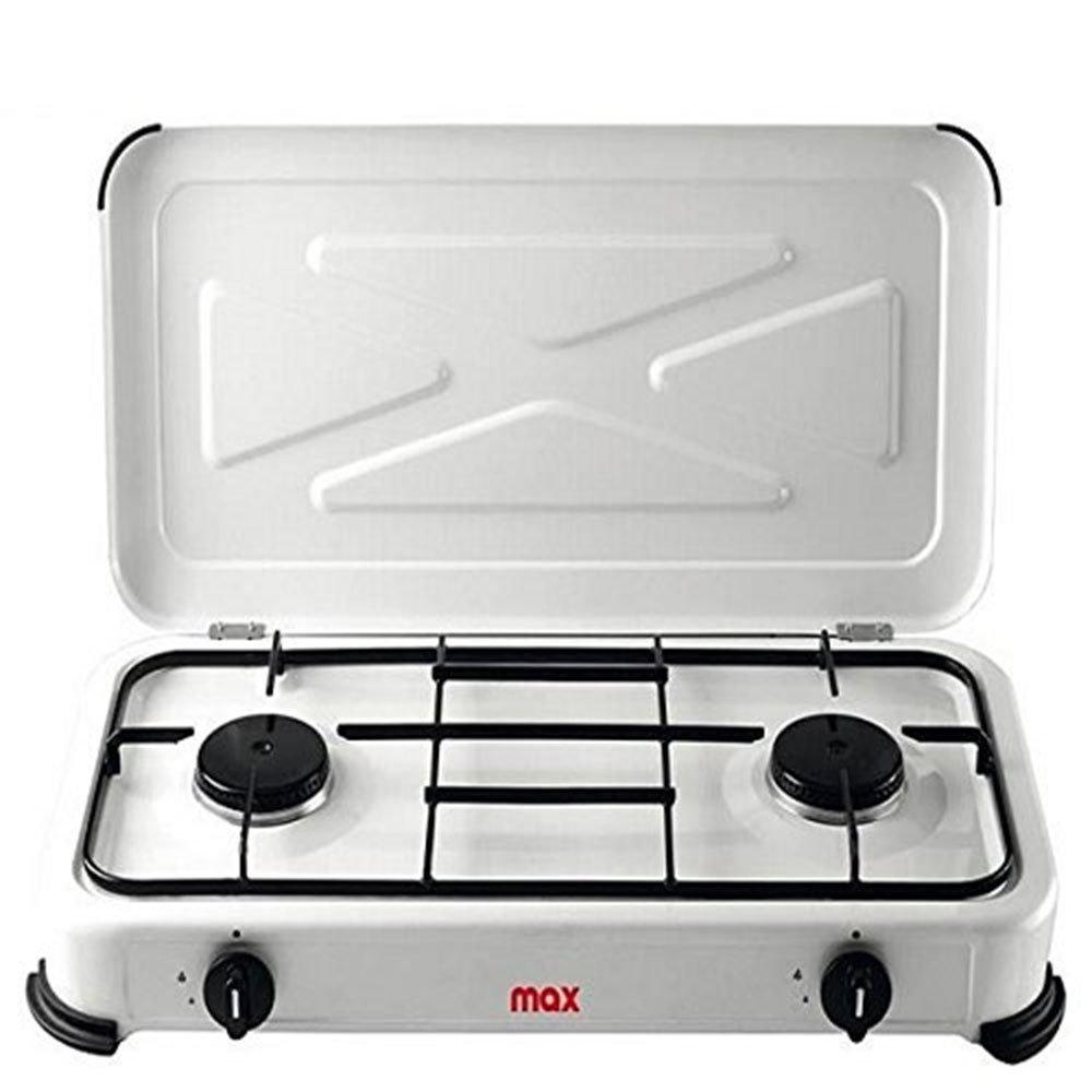 Vetrineinrete® Cucina fornello 2 fuochi a gas gpl butano propano con coperchio per uso interno forno per esterno campeggio fuoco per cucinare giardino P80 vetrine in rete