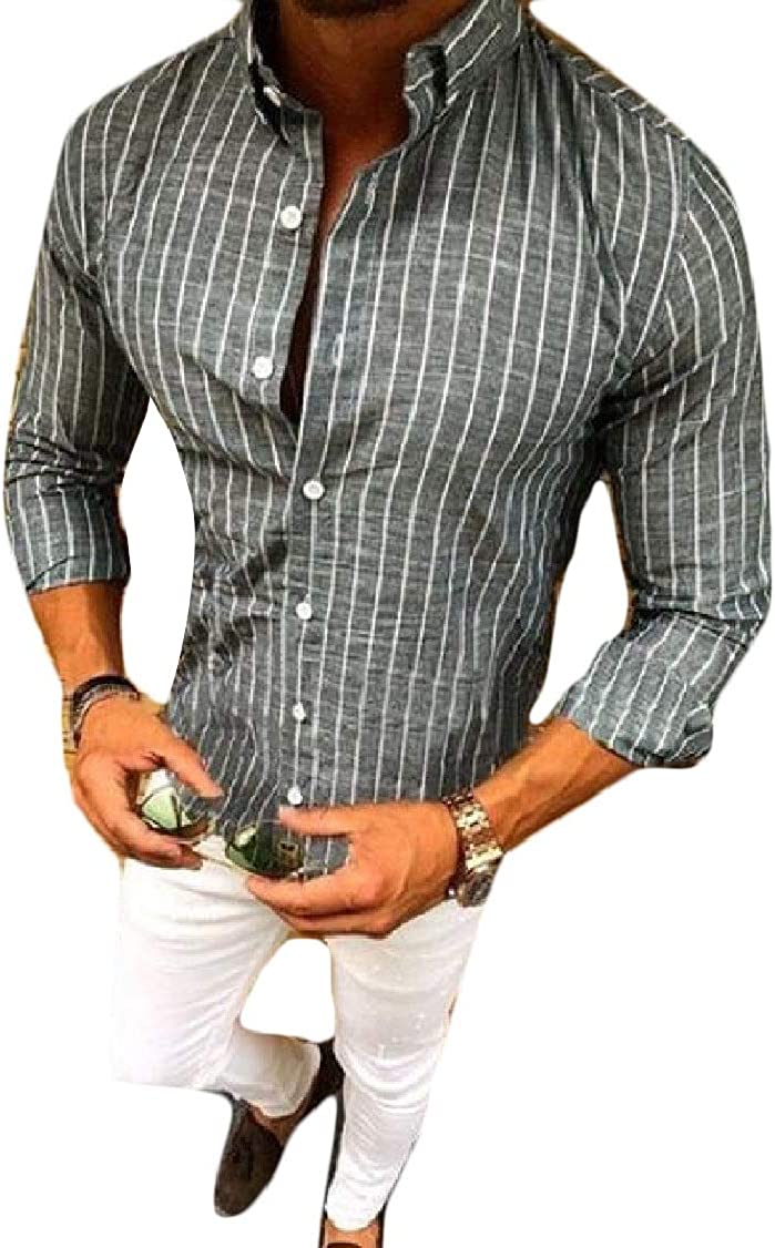 XQS Mens Simple Business Vertical Striped Button Down Long Sleeved Shirts