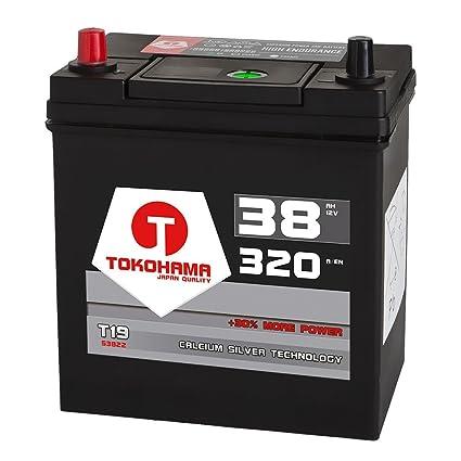 Japan Asia Autobatterie 12V 38Ah 320A//EN Dünnpol Pluspol links Batterie 53522