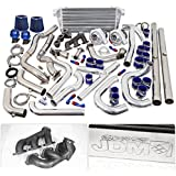 For Ford Mustang V6 3.8L Twin Turbo Charger Manifold Downpipe Intercooler Wastegate Oil Line Kit Air Filter Boost Controller Upgrade Blue Set