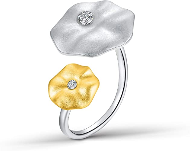 Lotus Fun S925 Sterling Silver Rings Natural Adjustable Leaf Ring Handmade Unique Fashion Jewelry Gift for Women and Girls
