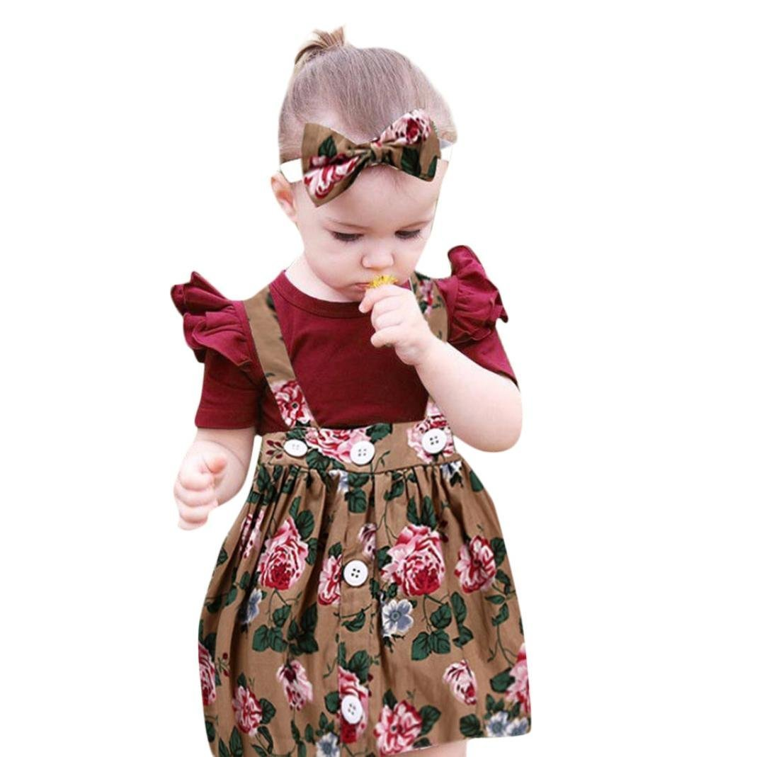 3Pcs Toddler Kids Baby Girls Floral Bib Dresses Overalls Skirt +Ruffle Romper + Bow Headband Outfits Set (Multicolor, 0-6 Months)