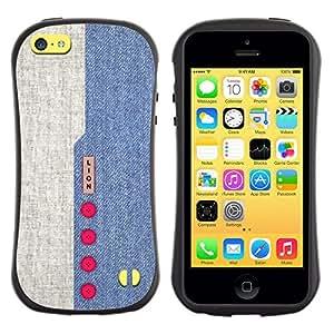 Suave TPU GEL Carcasa Funda Silicona Blando Estuche Caso de protección (para) Apple Iphone 5C / CECELL Phone case / / Denim Design Blue Red Buttons Textile Fabric /