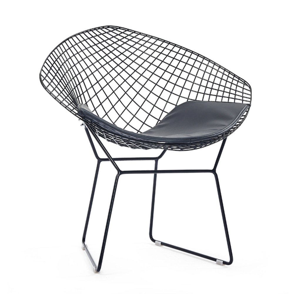 Simple casual dining chair chair / iron creative back chair / industrial wind design, simple and stylish ( Color : Black )