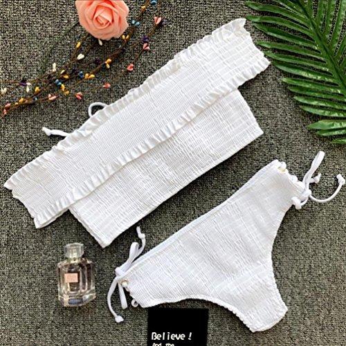LHWY Bikini Damen Push up, Frauen Elegante Falten Bandage Swimsuit Set Teens Mädchen Sommer Stricken Lace Rope Riemen Padded Bademode Badeanzug Beachwear Weiß