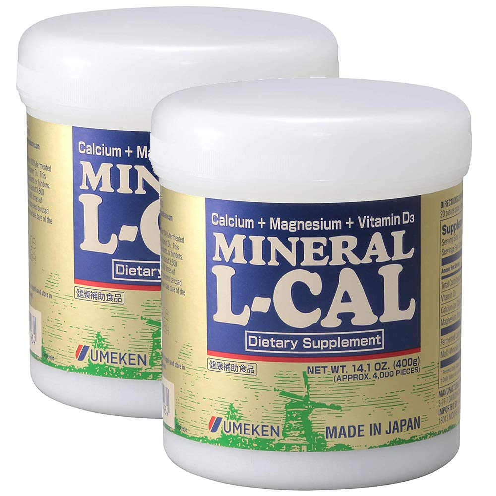 2X Umeken Mineral L Cal (Large Bottle)- Calcium Enriched with Magnesium, Vitamin D3 and Minerals. 100% Water Soluble and Fast Absorbing. Easy on Stomach. About 12 Month Supply.
