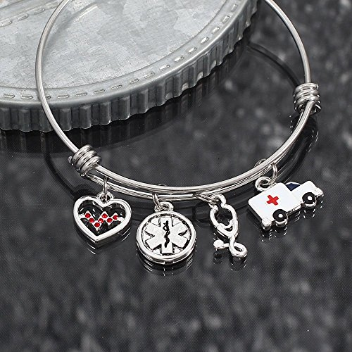 Paramedic and EMT Expandable Stainless Steel Charm Bangle EMS ()