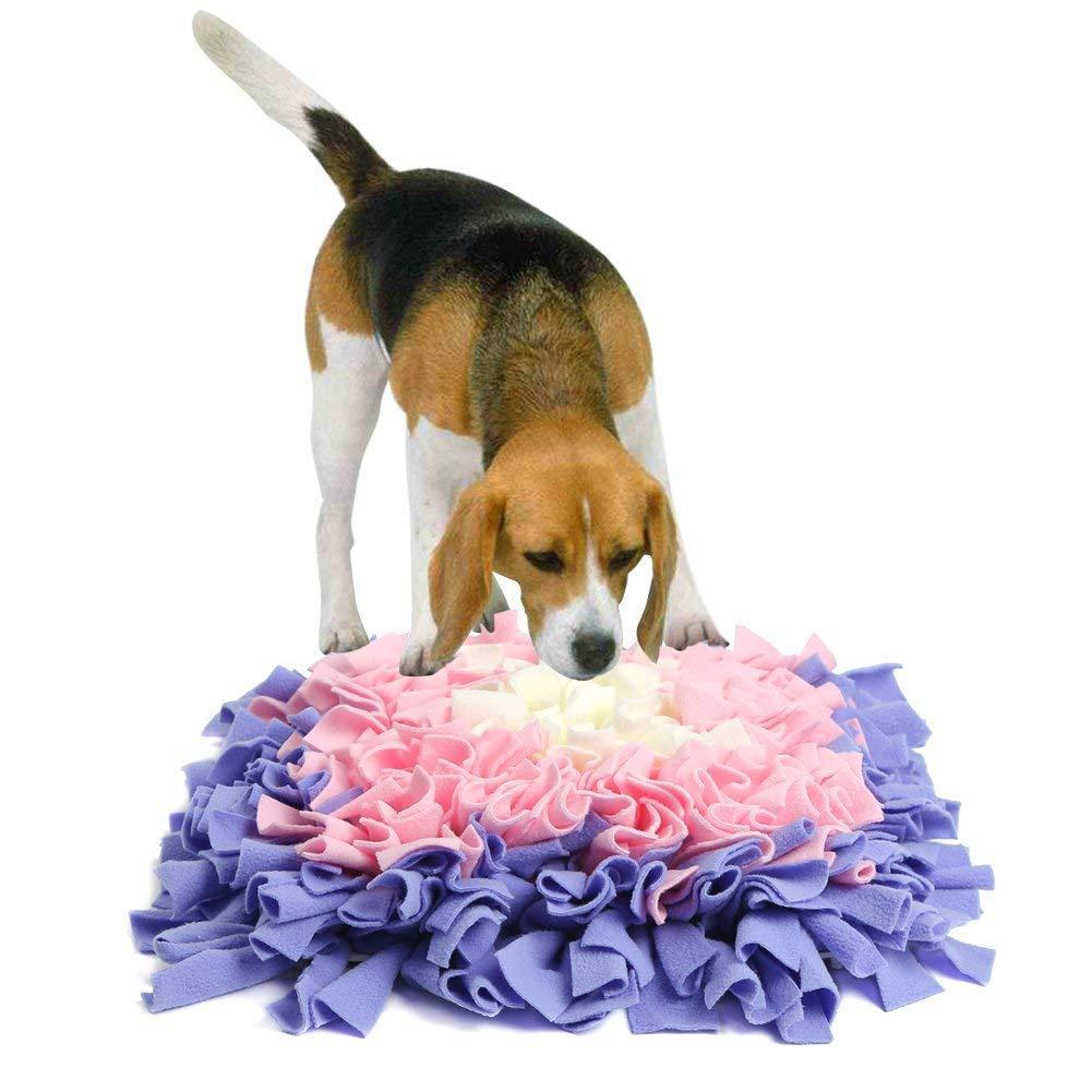 Dog Snuffle Mat,Nose Work Blanket,Training Feeding Foraging Skill Blanket,Pet Sniffing Pad,45  45Cm (Purple Pink)