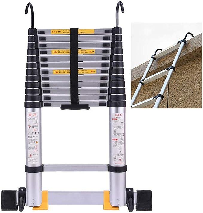 Escaleras Telescópicas Multifunción Escalera de extensión de aluminio plegable con ganchos y barra estabilizadora, escalera telescópica de ingeniería portátil para techo de bricolaje, soporte de 330 l: Amazon.es: Hogar