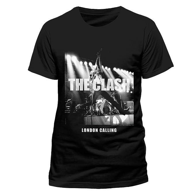 Black The Clash London Calling Punk Rock Oficial Camiseta para Hombre: Amazon.es: Ropa y accesorios