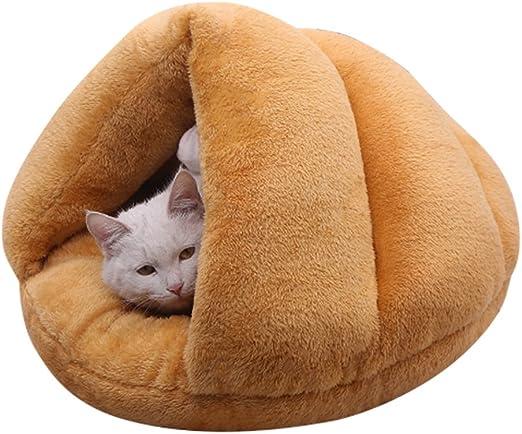 Baffect Cueva para Perros,Camas Blandas para Mascotas Cama Nido para Perros Bolsa de Dormir Cama para Perros Cama Igloo para Perros Gato Conejo Cama para Cama Caliente Manta Cama S (Marrón): Amazon.es: