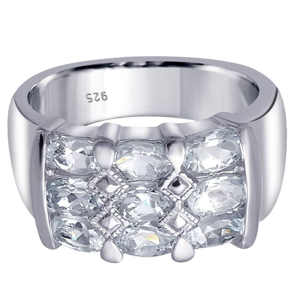 Orchid Jewelry 925 Sterling Silver Aquamarine Cocktail Unisex Ring, (Size 8) by Orchid Jewelry (Image #3)