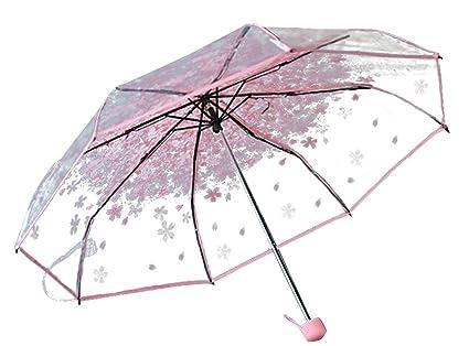 Patrón paraguas plegable paraguas Claro cereza compacto Paraguas para las muchachas Mujeres Half-automático (