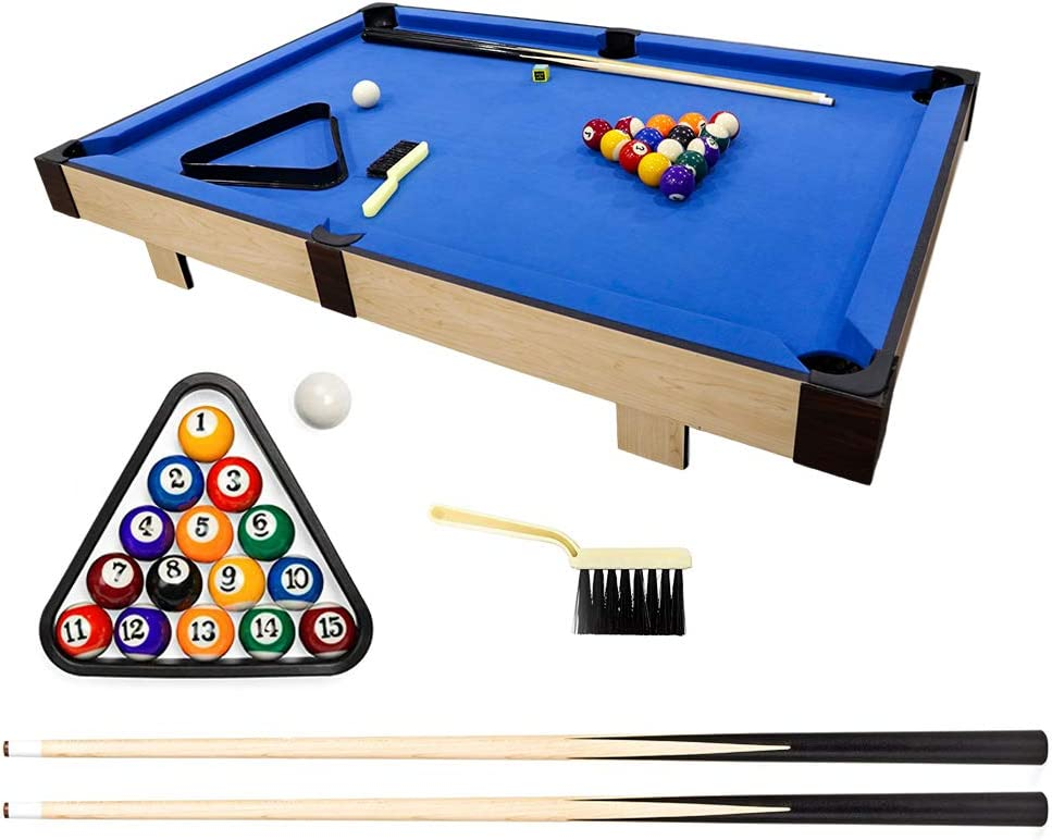"""haxTON Tabletop Pool Table Set, Mini Pool Table, 36""""x20""""x3.14"""", Travel-Size Billiard Tables, Game Table, Pool Games, Cues, and Rack, Balls : Sports & Outdoors"""