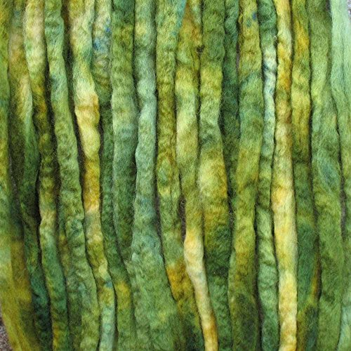 Wool Roving Craft Fiber. Hand Dyed Soft BFL Wool Top. Pre-drafted for easy Hand Spinning, Needle Felting, Wet Felting, Weaving, Embellishments and Felted Soap. 1 Ounce, Bright Green - Felting Embellishments
