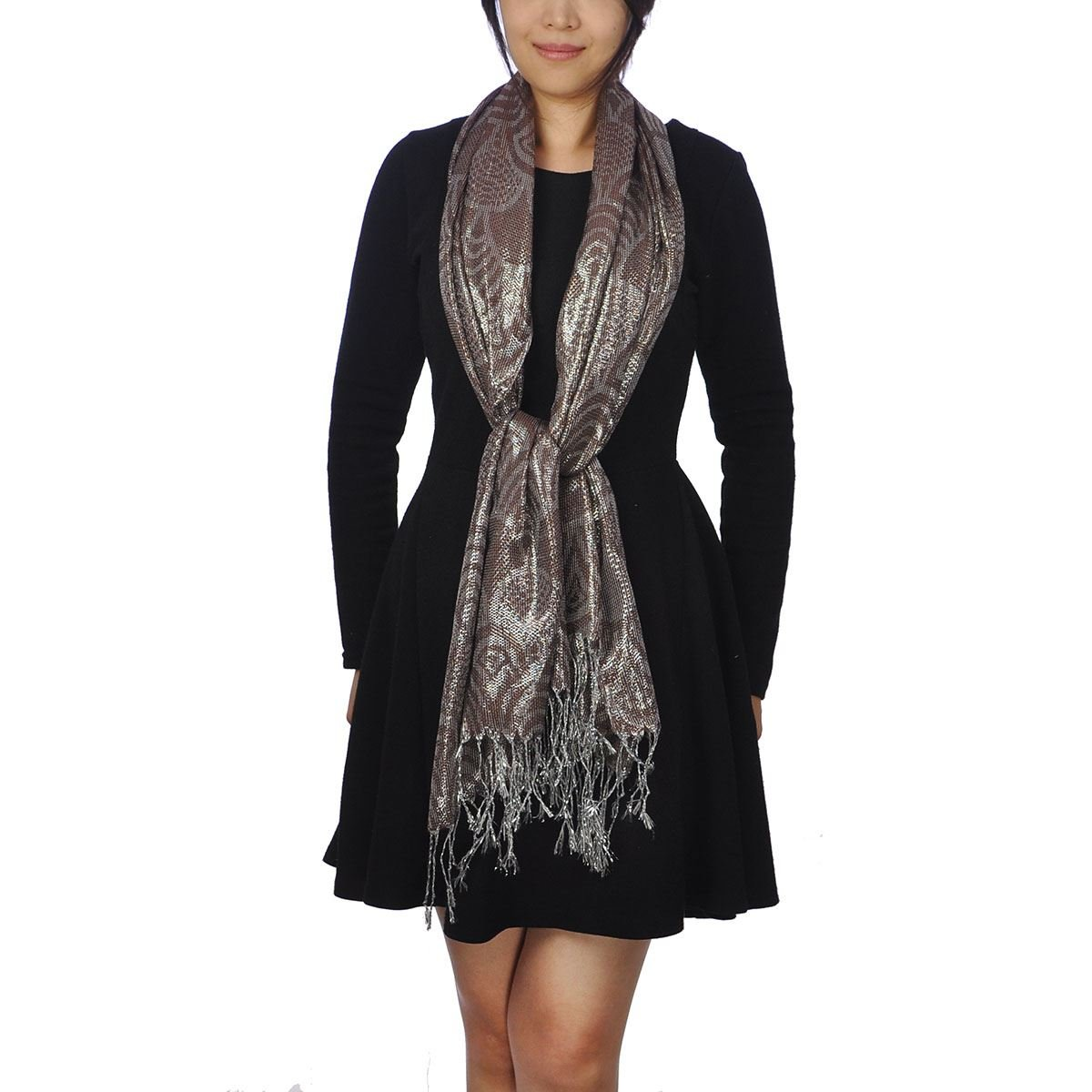 Metalic Silver Lurex Fabric, Neck Scarf, Shawl, Stole Wrap, Brown: Amazon.co.uk: Clothing