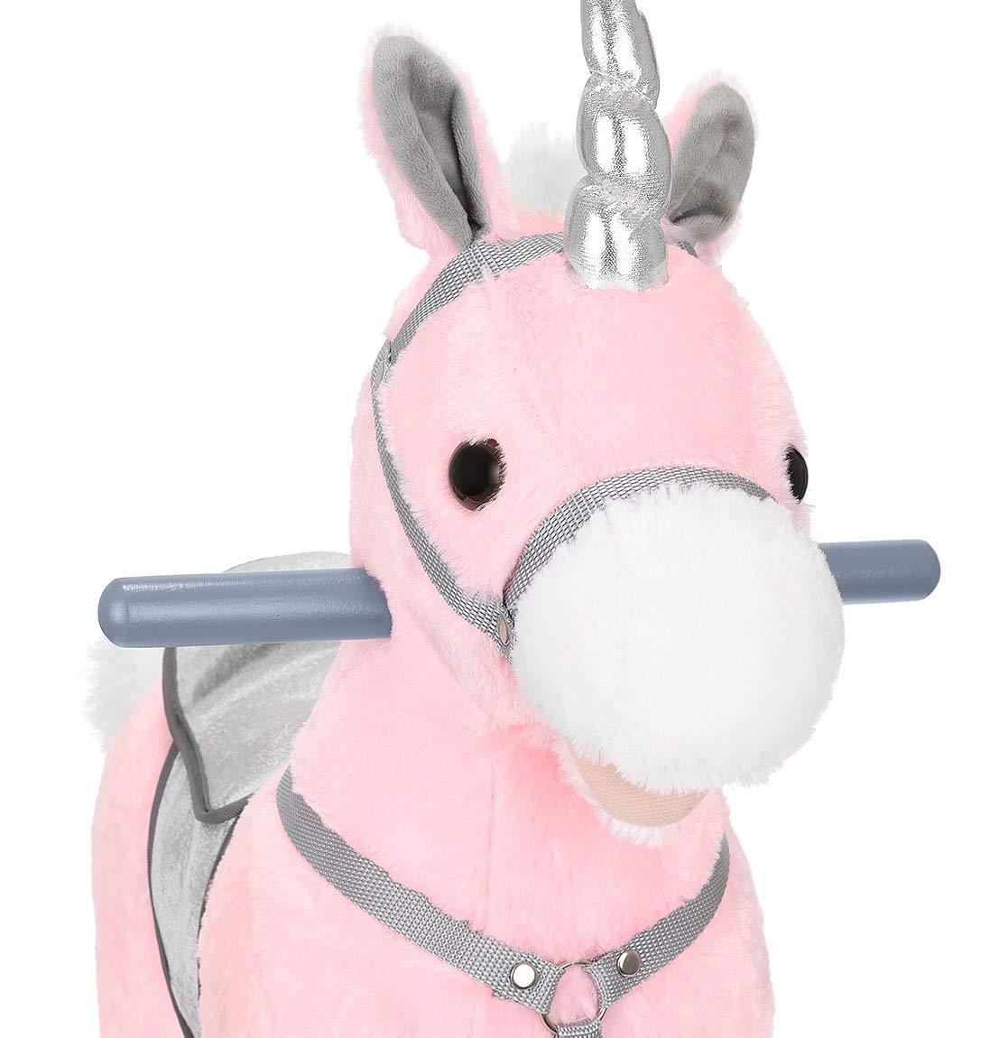 KRUZZEL Schaukelpferd Schaukelspielzeug kuschelweich mit Soundeffekten Farbwahl 9329 Farbe:Rosa-Silber