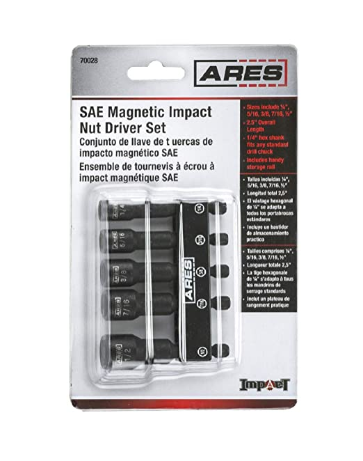 ARES 70028 | SAE Impact Magnetic Nut Driver Set | 2 1/2-inch Impact Grade  Nut Setter with Industrial Strength Magnet