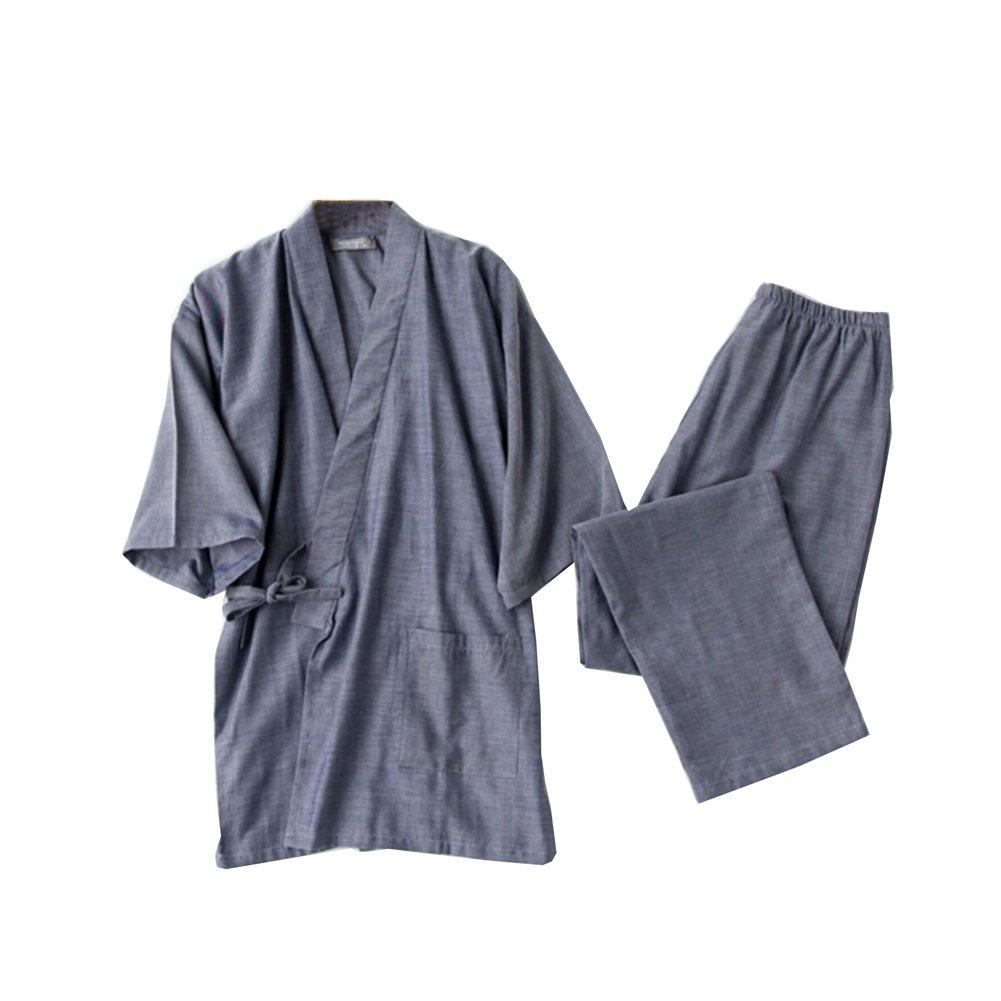 FANCY PUMPKIN Men's Japanese Style Robes Kimono Pajamas Suit Meditation Set
