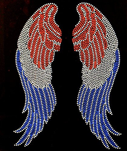 USA Angel wing 4th of july Rhinestone Transfer Iron On - DIY -