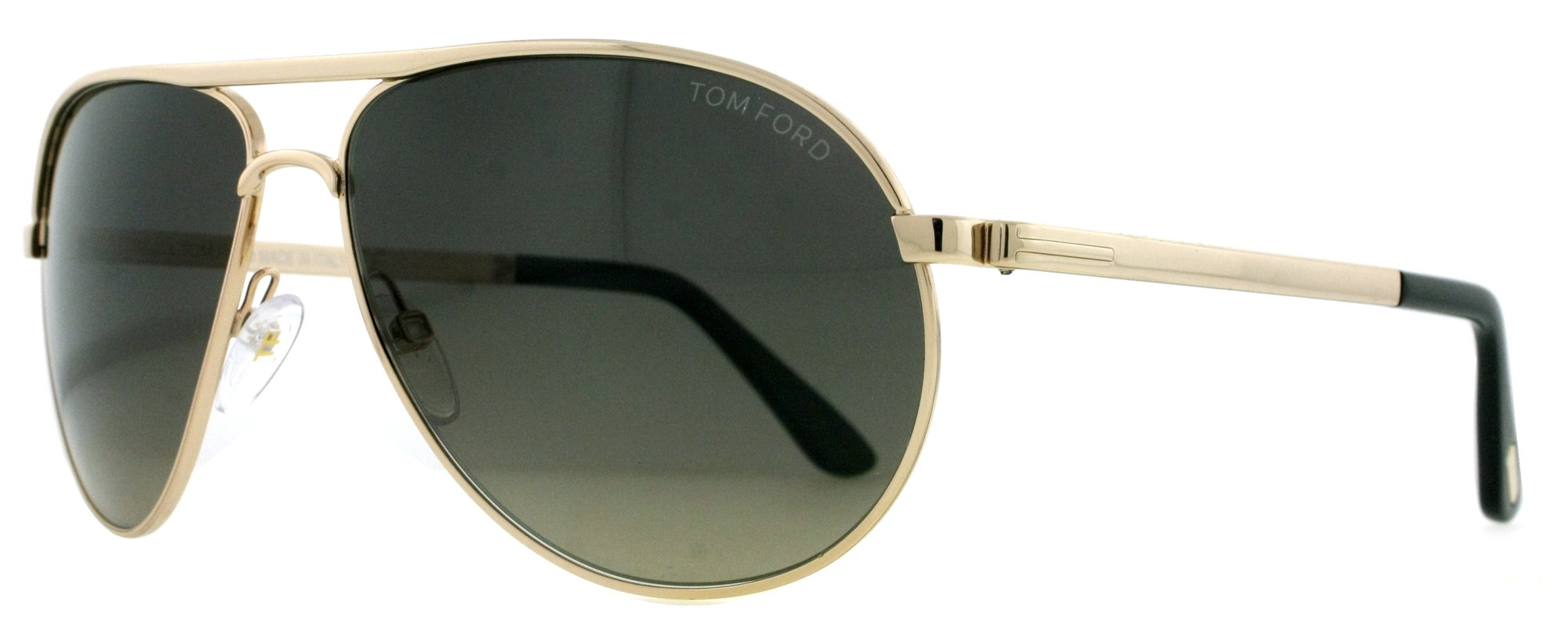 Tom Ford 0144 28D Silver 0144s Aviator Sunglasses Polarised Lens Category 3, Shiny Rose Gold, 58-13-140