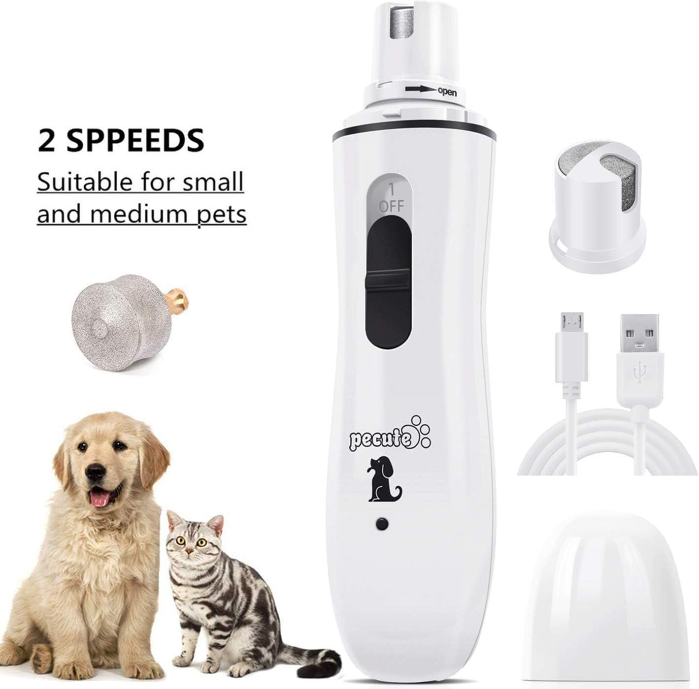 Pecute Cortauñas Gato Lima de Uñas Eléctrica para Gato Mascotas Pequeño Amoladora del Clavo Recargable y de Bajo Ruido, Dos Grados Velocidad Variable con Cable USB