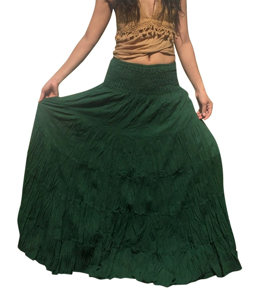 Billy's Thai Shop Women's Plus Size Long Maxi Pleated Skirt with Elastic Waist One Size Fits Most. Green