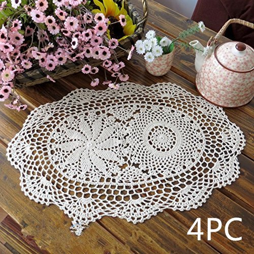 Ustide Handmade Floral Crochet Table Placemats Oval Cotto...