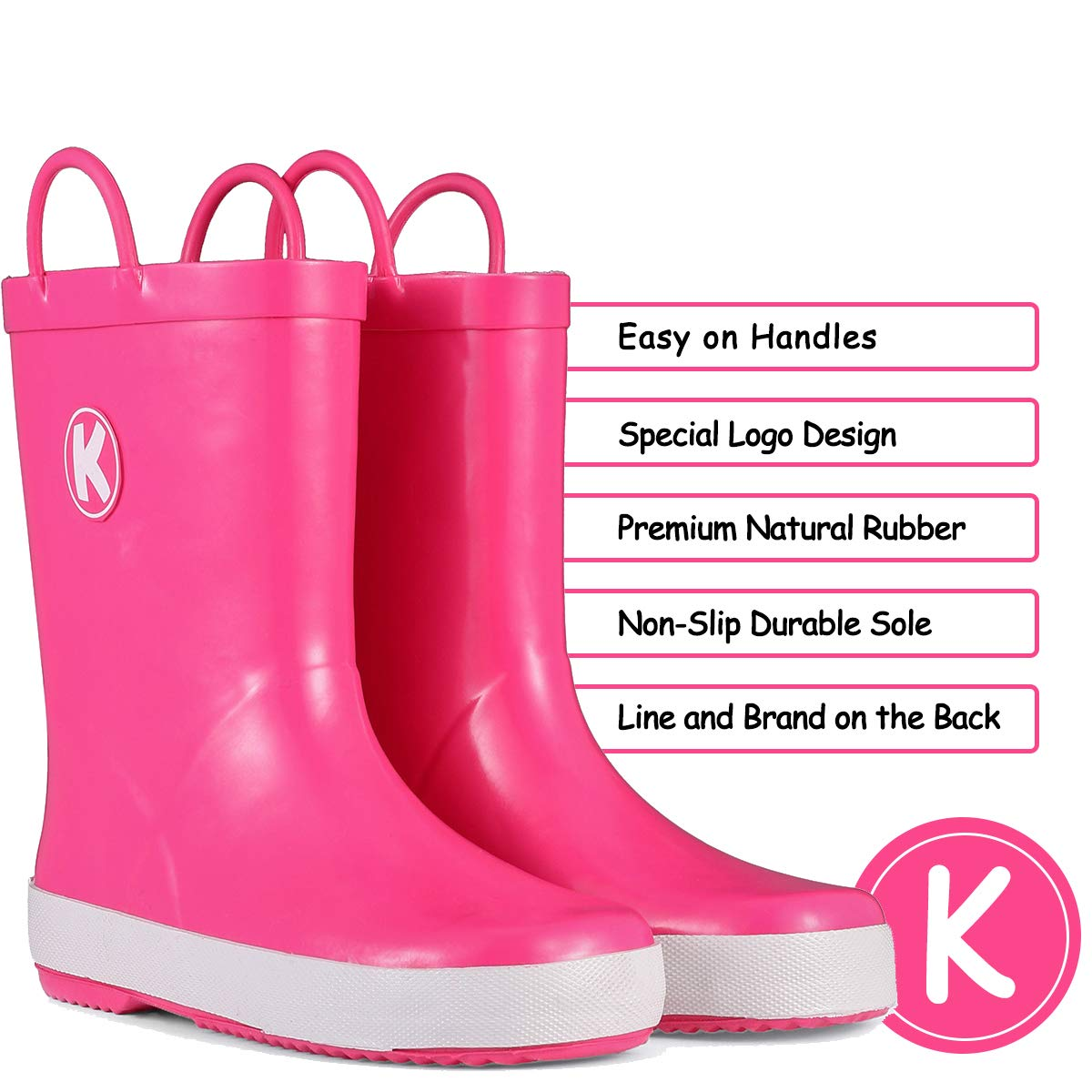 KomForme Kids Rain Boots, Plain Color Girl Rubber Boots Waterproof with Handles Pink by KomForme (Image #2)