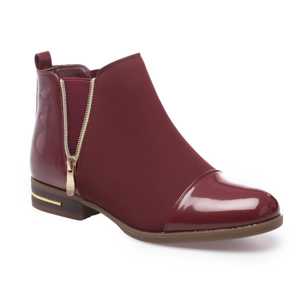La Modeuse - Boots bi-matière en Talon smilicuir au avec bi-matière empiècements Vernis au Niveau du Talon et du Bout Arrondi Rouge efe6e8d - reprogrammed.space